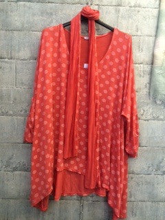 Coral spot loose fit top with matching scarf