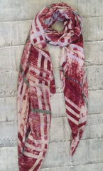 Cotton mix checked scarf in pinks & green