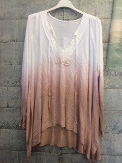 White into peach loose fit top with sequin neckline