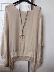Champagne coloured silk poncho top with sequin detail