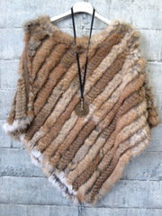 Fur coney poncho in natural Colour