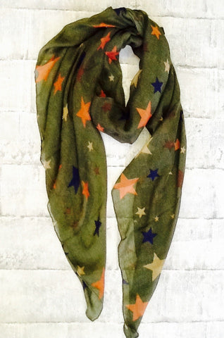 Star scarf in green with multi coloured stars
