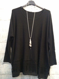 Black loose fit fine knit with crochet detail around the bottom
