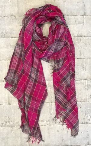 Tartan scarf in pink & grey cotton mix
