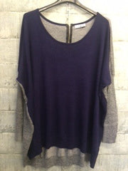 Navy front grey back loose fit fine knit top