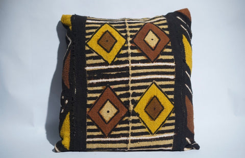Brown & Yellow Diamond Authentic Mudcloth Pillow
