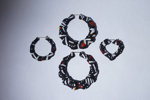B&W Tribal Hand Wrapped Ankara Fabric Bamboo Earrings