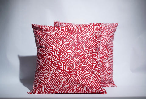 Red Tribal African Cotton Pillows