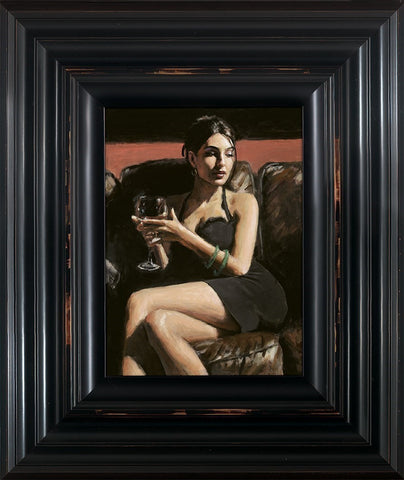 Fabian Perez, Tess on Leather Couch, Framed