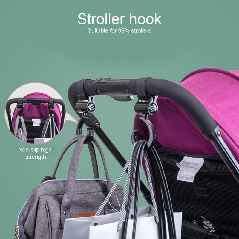 2P Multi Purpose Stroller Hook Perfect Stroller Accessories Clips On Any Baby Stroller Travel Systems Secure Purses Diaper Bags