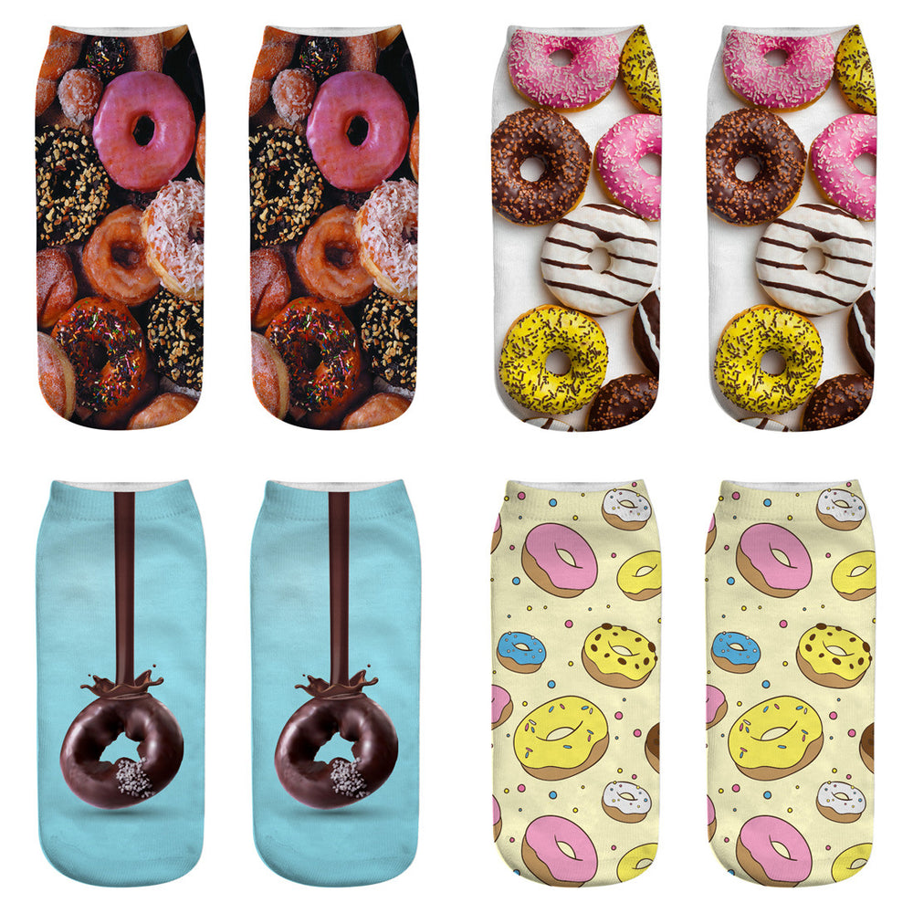 RUNNING CHICK New Harajuku Food Donut Cartoon 3D Printed Socks