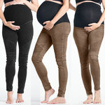 High Waist Clothes For Pregnant Women Zipper Maternity Pants Capris Clothing Soft Pregnancy Black Brown Skinny Leggings Trousers
