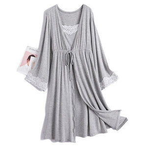 2Pcs/Set Maternity Nursing Dress - V Neck Pregnancy Nightdress