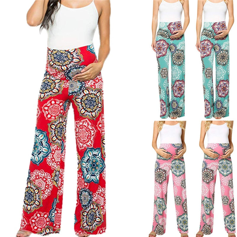 Women's Maternity  Floral Easy Pants Pregnancy Trousers  premama premama pregnant ropa mujer F1