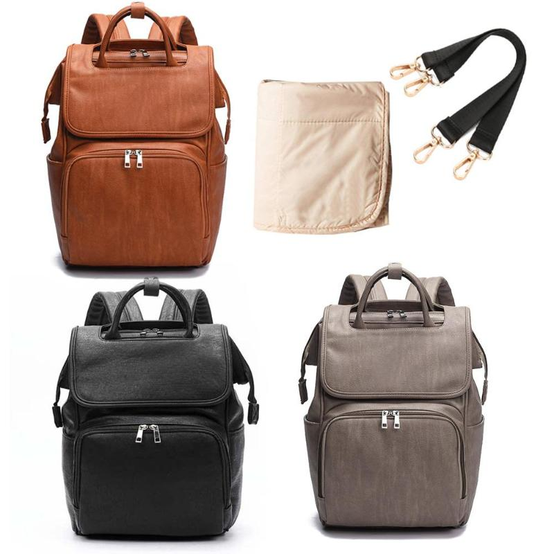 Fashion Leather Maternity Bag Hot Selling Simplicity Multi-function Backpack Baby Diaper Changing Pad Stroller Mummy Schoolbag