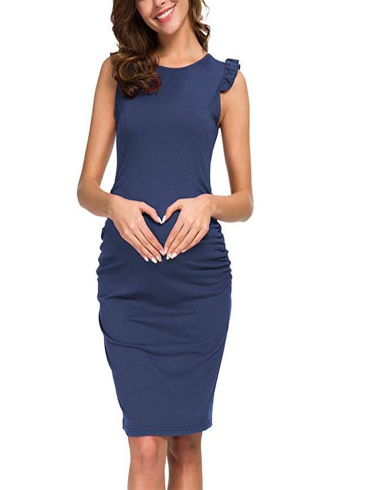 Pregnant Women Dress Ruffled Short-sleeved Solid Color Stitching Slim Pregnancy Fashion Dress Maternity Dresses