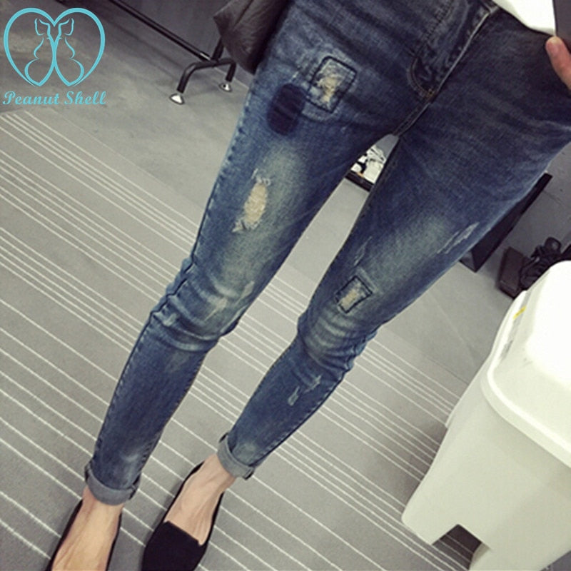 Elastic Waist Hole Stretch Denim Maternity Belly Jeans Autumn Spring Pants Clothes for Pregnant Women Pregnancy Pencil Trousers
