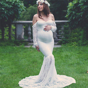 Maternity Photo Shoot Maxi Dress - Off Shoulder Lace Gown 2019
