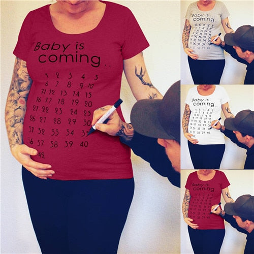 Baby Is Coming Print Maternity Pregnant T shirt