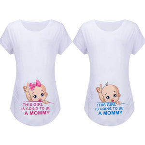 Maternity Cartoon Print Pregnancy T-shirt