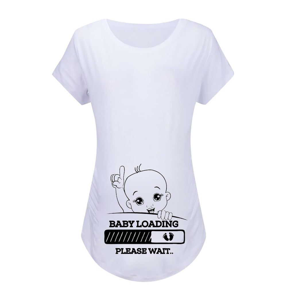 Maternity Short Sleeve Baby Loading Cartoon Print T-shirt