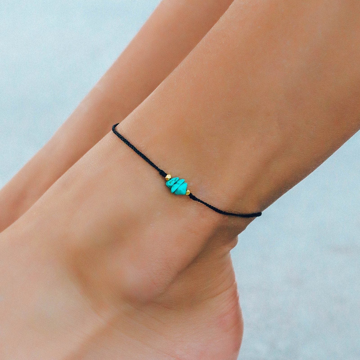 Turquoise Raw Stone Anklet 2