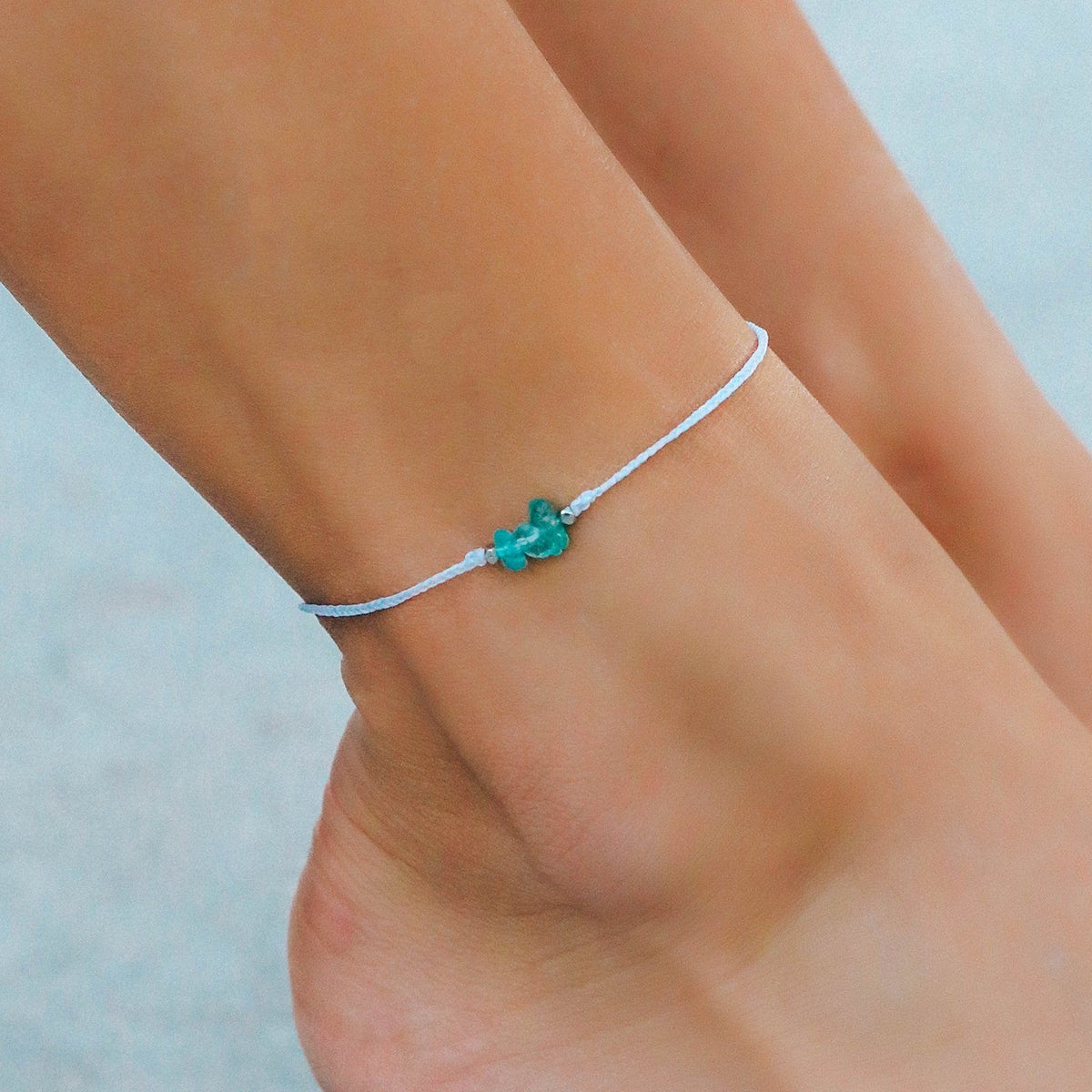 Fluorite Raw Stone Anklet 2