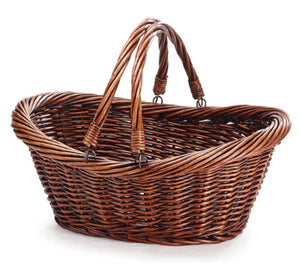 Oval Willow Basket with folding handles