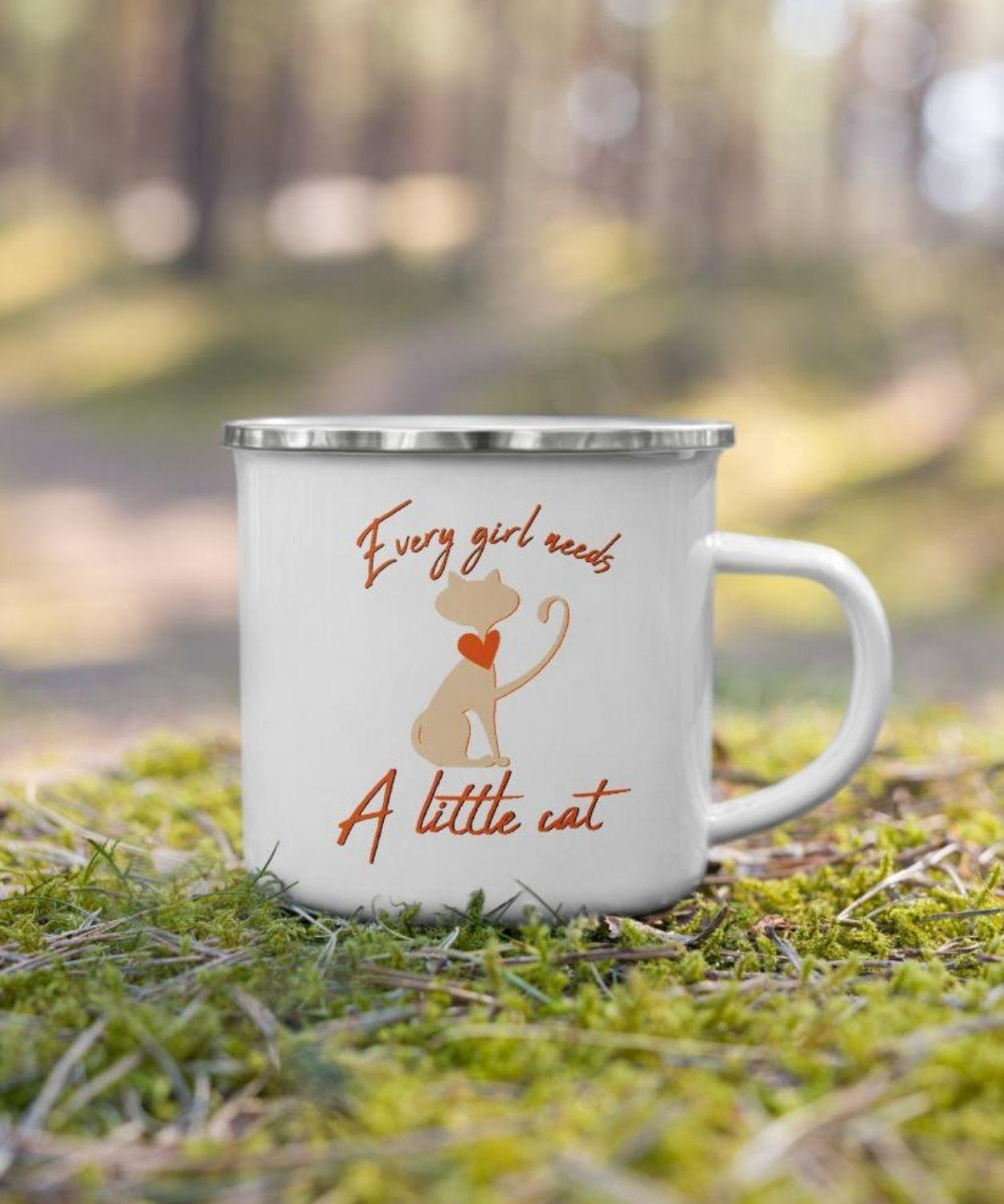 Every girl needs a little cat | Enamel Coffee & Tea Mug
