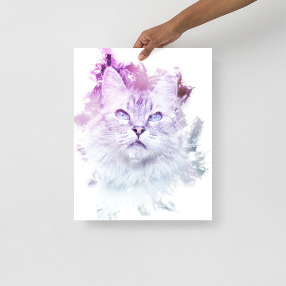 Cat in White | Kunstdruck Premium Matte Papier Poster