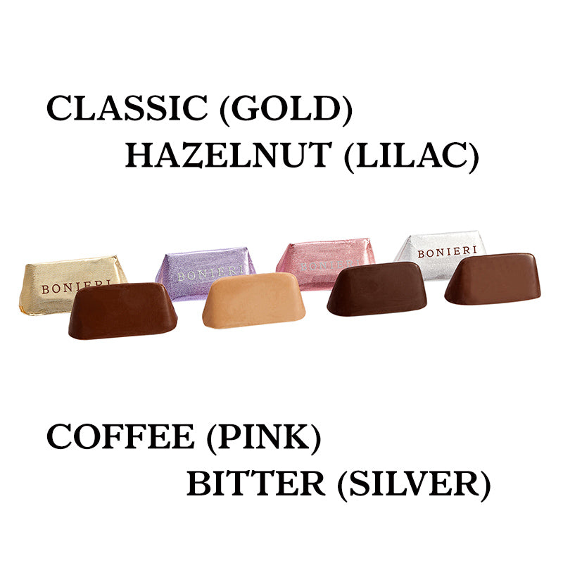 Gianduiotti in four flavours - classic, bitter, coffee and hazelnut