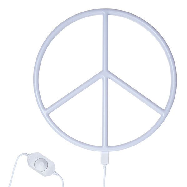 Neon Light . Peace - White