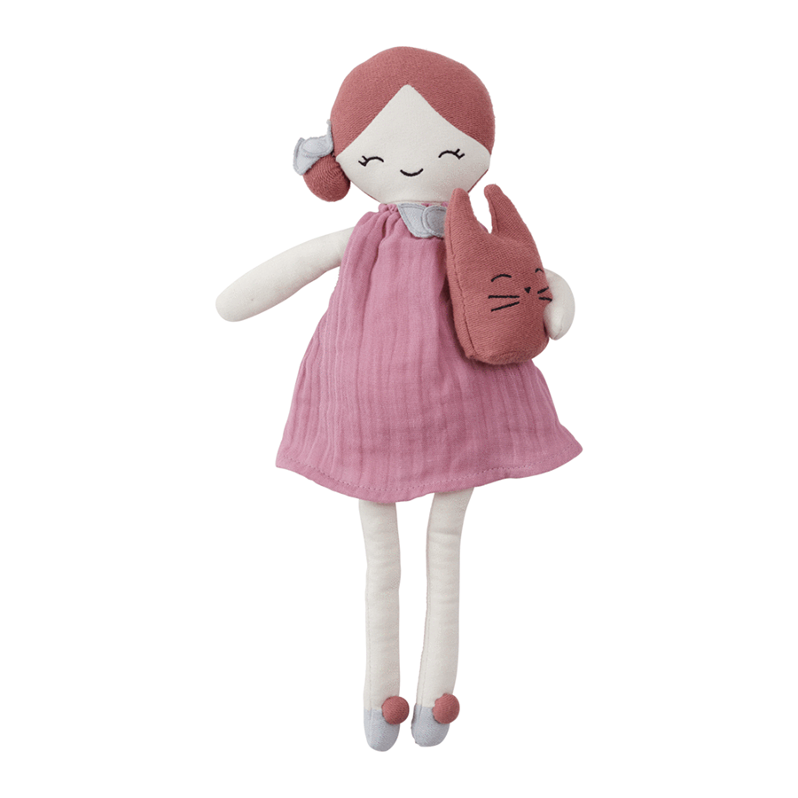 Soft Toy . Organic Cotton Big Doll -  Berry