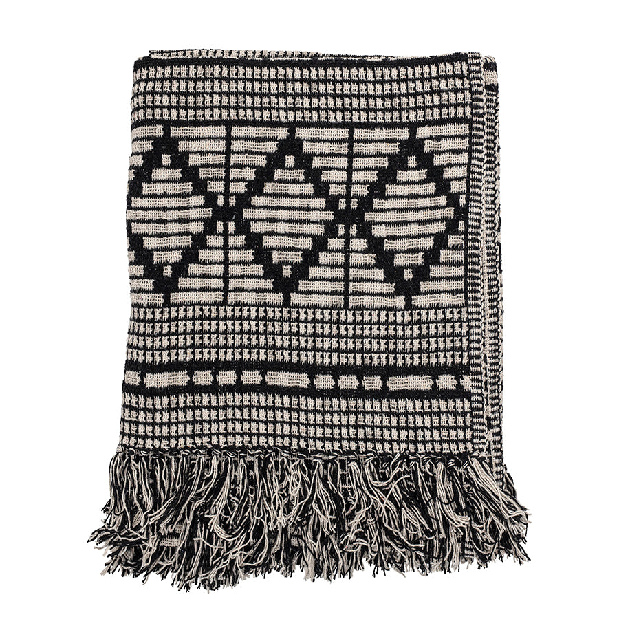Blanket / Throw . Recycled Cotton Mix - Black & White
