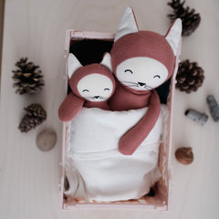 Soft Toy . Organic Cotton Rattle -  Fox / Clay