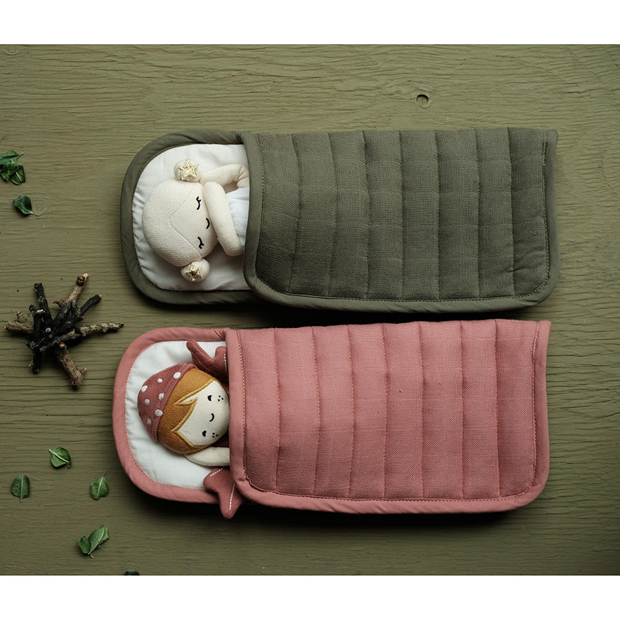 Soft Toy . Organic Cotton Doll Sleeping Bag - Olive