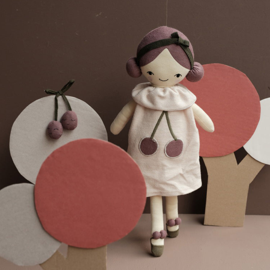 Soft Toy . Organic Cotton Big Doll -  Cherry