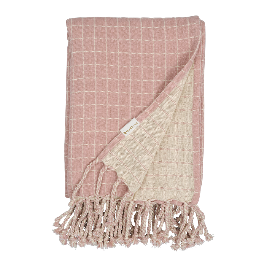 Throw / Lightweight Blanket . Grid - Old Rose