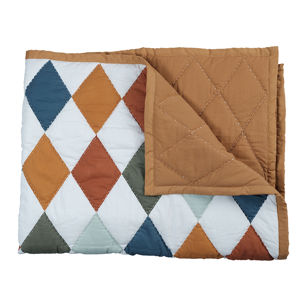 Blanket . Organic Cotton - Patchwork Diamond