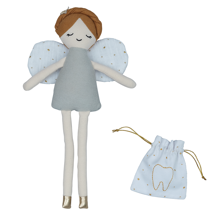 Soft Toy . Organic Cotton Doll -  Tooth Fairy With Tooth Pouch