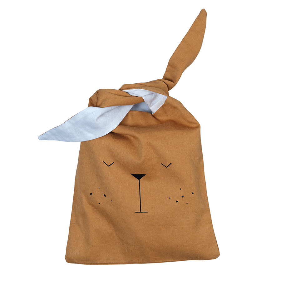 Storage / Sandwich Bag . Organic Cotton - Bear / Ochre