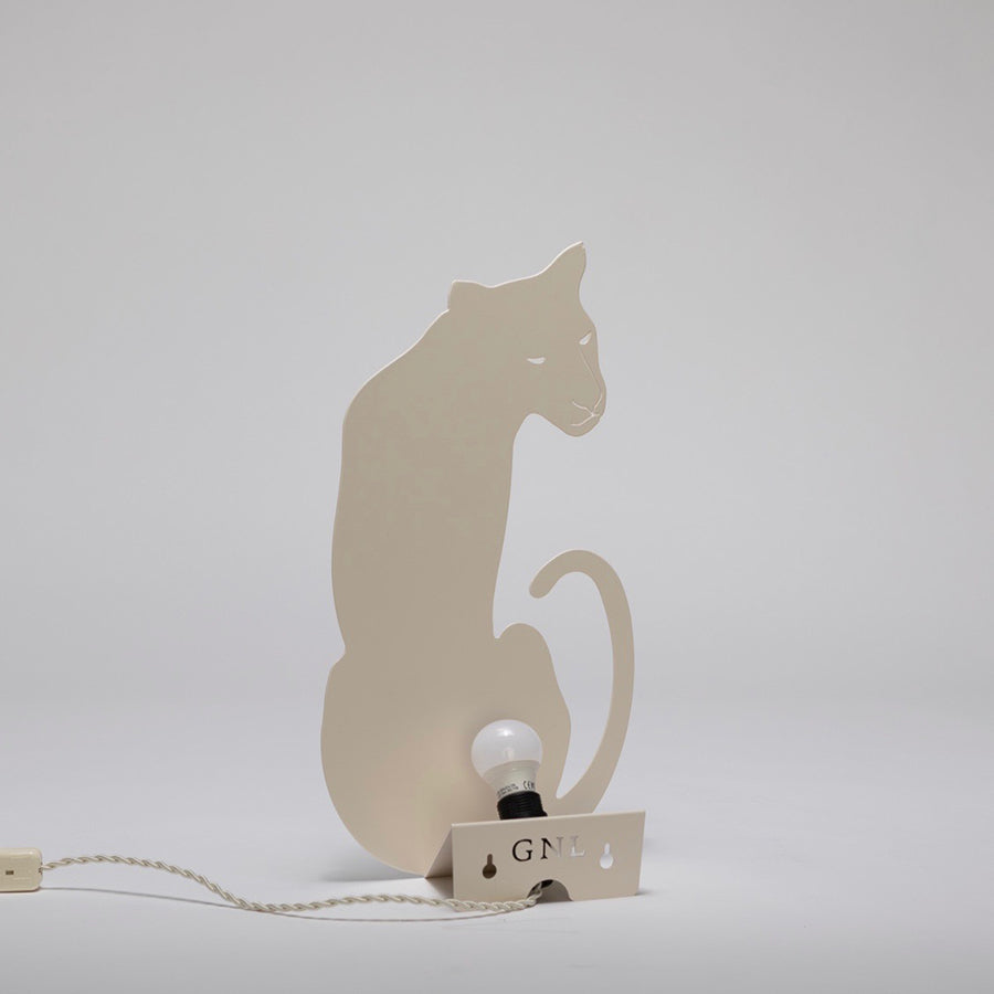 Decoupage Lamp . Wall / Table Light - Panther / Ivory