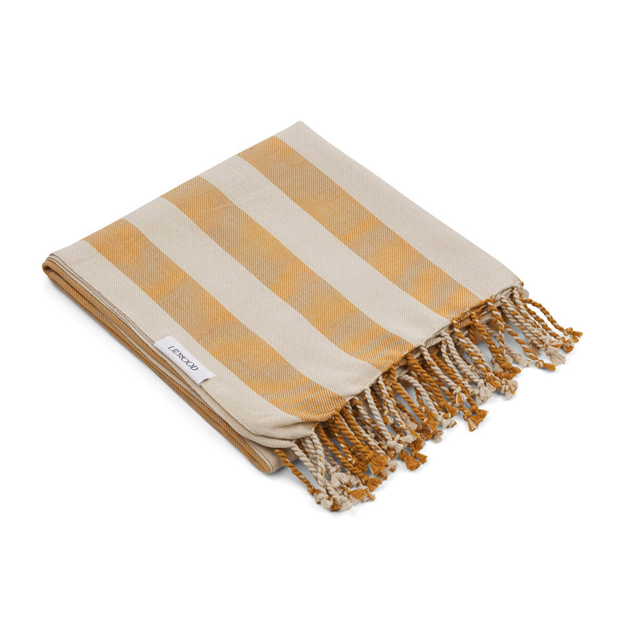 Beach Towel . Organic Cotton - Mustard / Sandy Stripe
