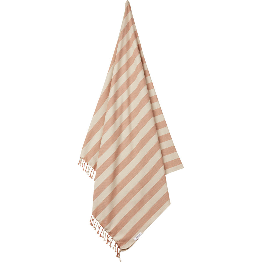 Beach Towel . Organic Cotton - Tuscany Rose / Sandy Stripe