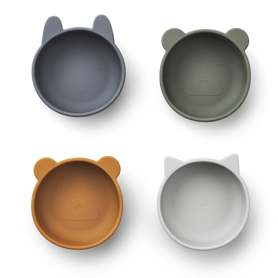 Dining . Set of 4 Silicone Bowls - Iggy / Blue Mix