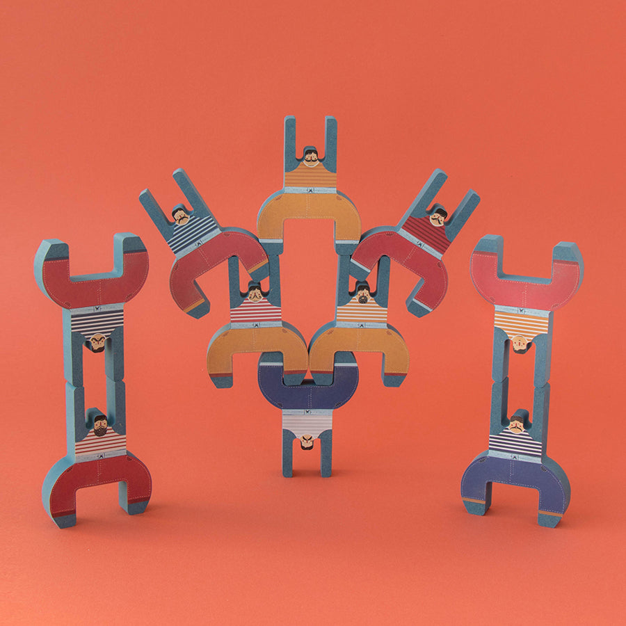 Toy . Wooden Balancing Game - The Acrobat Brothers