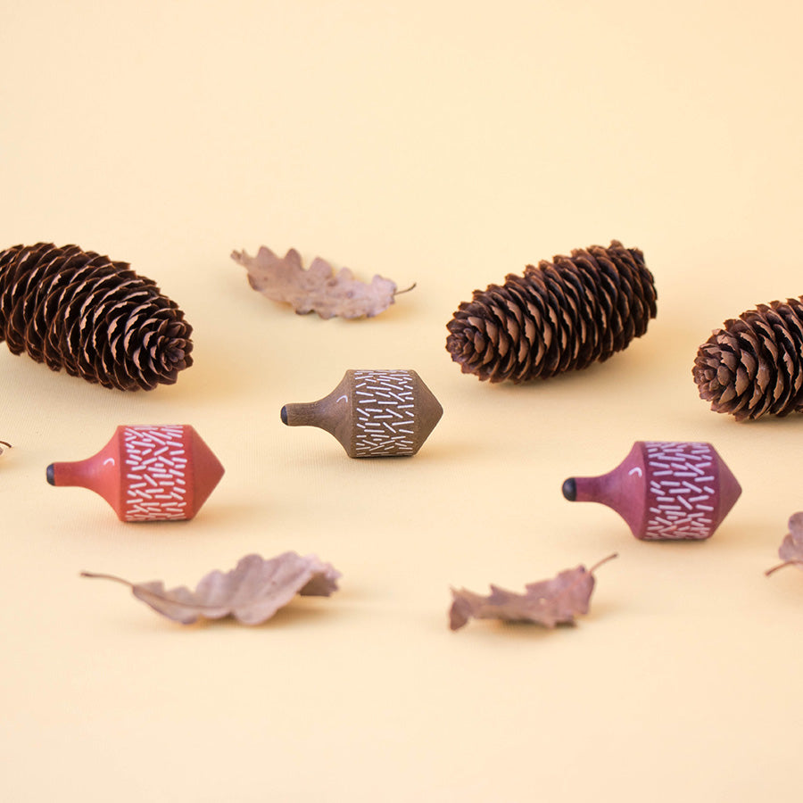 Toy . Wooden Spinning Top - Spiky