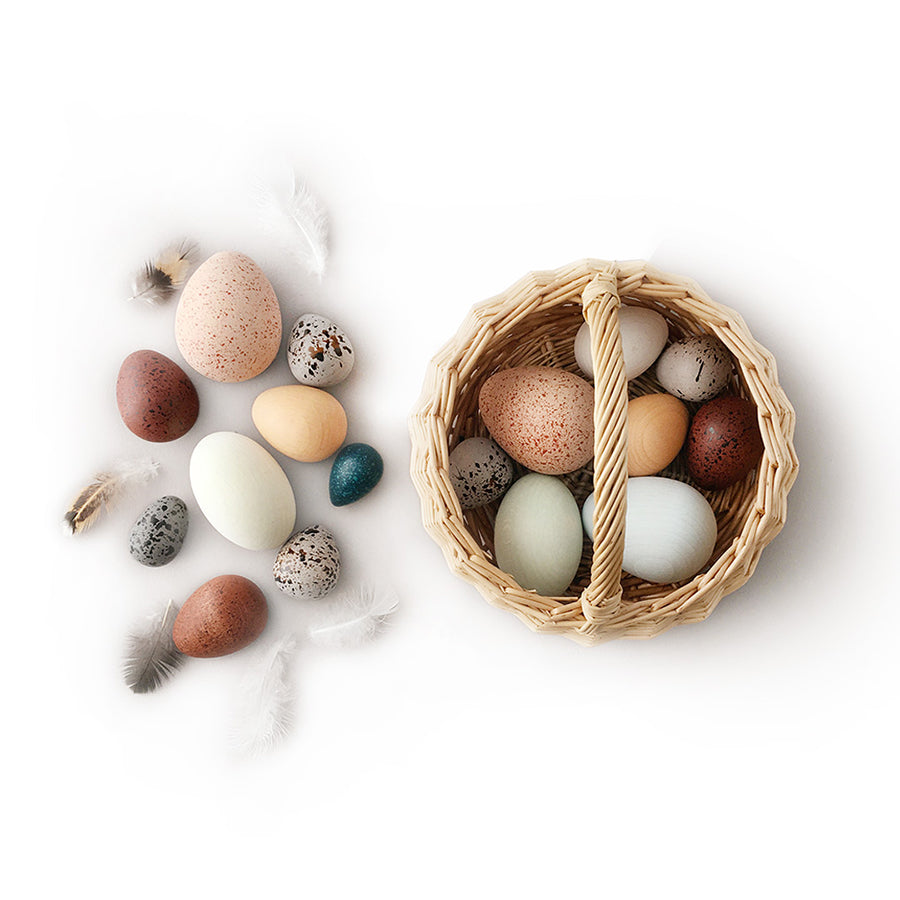 Toy / Collection . Basket Of Bird Eggs
