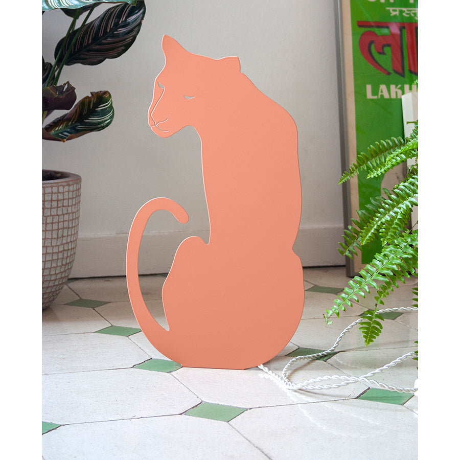 Decoupage Lamp . Wall / Table Light - Panther / Blush