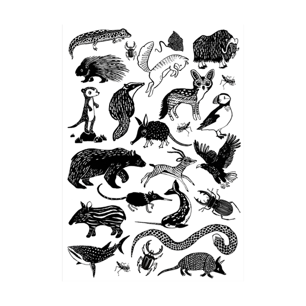 Temporary Play Tattoos . Monochrome Animals